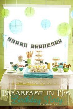 Breakfast in PJs themed birthday party!  From decor to food ideas!