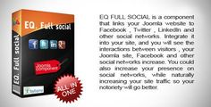 EQ Full social . FULL SOCIAL is a component that links your Joomla website to Facebook , Twitter , LinkedIn and other social networks. Integrate it into your site, and you will see the interactions between visitors , your Joomla site, Facebook and other social networks increase. You could also increase your