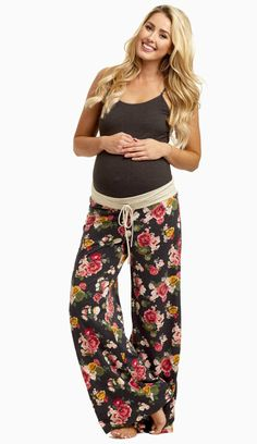 These will be the most gorgeous and comfortable maternity pajama pants you own this year. A drawstring waistband for customized comfort and a pretty floral print to make bedtime a beautiful occasion. Cozy up in these this winter and pair with a basic maternity cami for a good night's sleep.