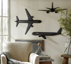 Airplane wall art from Pottery Barn. Deco Aviation, Unique Home Decor, Diy Home Decor, Airplane Decor, Airplane Wall Art, Airplane Bedroom, Wood Plastic, Room Themes, Boy Room