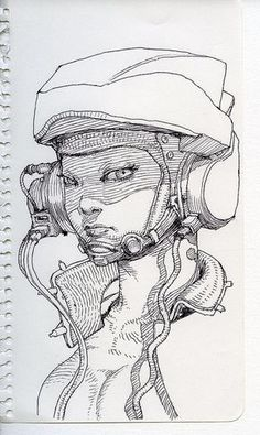 Like the use of lines and cyberpunk theme; could use in other illustration. Illustration Sketches, Drawing Sketches, Art Drawings, Art Illustrations, Character Illustration, Cartoon Drawings, Drawing Tips, Sketching, Character Sketches