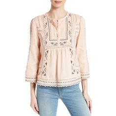 Women's Rebecca Taylor Esme Embroidered Cotton Top (17,375 PHP) ❤ liked on Polyvore featuring tops, ballet, bohemian style tops, rebecca taylor, rebecca taylor tops, embroidered boho top and bohemian tops