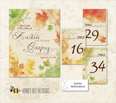 FALL WEDDING Decoration Collection - Autumn Watercolor Leaves Entry Poster, Table Numbers & Name Place Cards - Printable Digital File