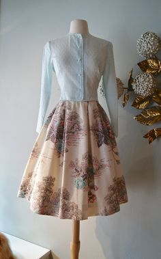 Vintage 1950s Novelty Print Skirt 50s Skirt With by xtabayvintage