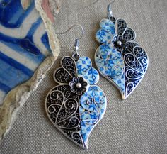 Portugal Filigree Heart Earrings with Blue Azulejo Tiles by Atrio,