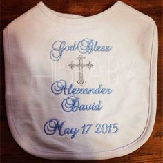 Embroidered baptism bib/ personalized by Baptism Favors, Baptism Party, Baptism Ideas, Baby Boy Baptism, Christening Gifts, Baby Boy Christening Outfit, Christening Gown, Catholic Baptism Gifts, Boy Baptism Outfit Catholic