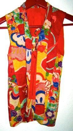 Vintage Japanese Kimono vest child's size from Japan by sweetalicelovesyou on Etsy