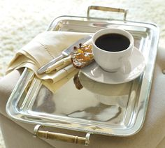 Shop breakfast tray from Pottery Barn. Our furniture, home decor and accessories collections feature breakfast tray in quality materials and classic styles. Silver Serving Trays, Silver Trays, Serving Platters, Silver Plate, Coffee Break, Coffee Time, Coffee Cups, Tea Time, Just In Case