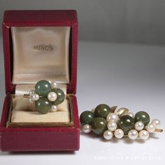VINTAGE MING'S HAWAII PEARL JADE BALL BROOCH & RING SET 14K GOLD ORIGINAL BOX #MingsHawaii