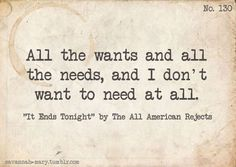 the all- american rejects lyrics | It Ends Tonight, All American Rejects