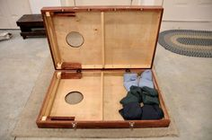 """He explains how he made his cornhole boards. They have latches to connect them for easy storing. I would add a handle. Paint one board black and one board white and you have """"Star Wars"""" cornhole boards. A light side and a dark side."""