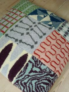 1950's tile inspired knitted patchwork cusion, designed by SallyNencini, London
