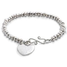 Handmade silver nugget bracelet with a silver heart charm. An ideal gift, the silver heart can be engraved with a name and a date or a short inscription.