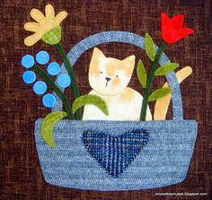 Block 6 for Susie's World Simply Vintage magazine quilt block Cat Quilt Patterns, Wool Applique Patterns, Applique Quilts, Wool Quilts, Baby Quilts, Yoko Saito, Cat Applique, Basket Quilt, Patch Aplique