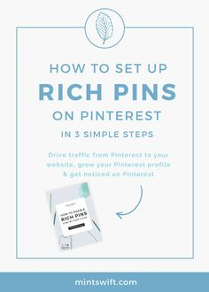 Learn how to set up Rich Pins for your blog in 3 simple steps. Rich Pins allows…