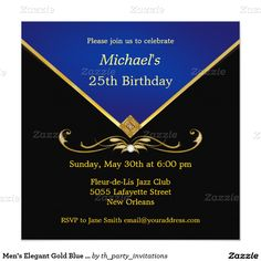 Men's Elegant Gold Blue Birthday Party Invitations