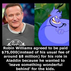 Why Robin Williams was awesome. Robin Williams Quotes, Robin Williams Movies, Alternative Energie, Human Kindness, Faith In Humanity Restored, Wtf Fun Facts, Uber Facts, Cute Stories, Comic