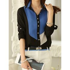 OL Style Polo Collar Color Block Long Sleeve Chiffon Blouse For Women. Shirt Collar Pattern, Contrast Collar, Kinds Of Clothes, Chiffon Shirt, Blouse Online, Dress And Heels, Blouse Styles, Chic, Ideias Fashion