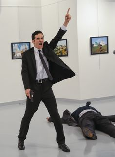 ANKARA, TURKEY 12/19/2016 A gunman gestured after assassinating Andrey G. Karlov, the Russian ambassador to Turkey, at an art exhibit.