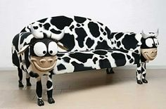 Creative Sofa Design Minds : Cool Couch With Cow Motif And Shape For Your Unique Living Room Furniture Funny Furniture, Couch Furniture, Cheap Furniture, Furniture Design, Furniture Stores, Furniture Movers, Luxury Furniture, Furniture Websites, Discount Furniture