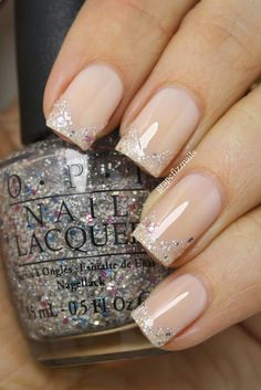 Image via Wedding Beige Nail Art 2015 Image via Nude and White Gradient Image via Wedding Beige Nail Art Image via My Nails Image via Beige nails with striped acce Gorgeous Nails, Love Nails, Fun Nails, Pretty Nails, Glitter Nails, Sparkle Nails, Nails With Glitter Tips, Bride Nails, Wedding Nails