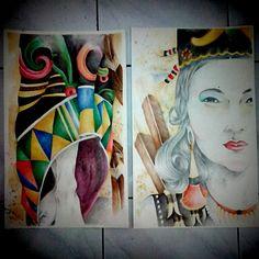 Dayak's woman on progress. mix media on paper. #drawing #artwork #art