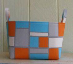 Fabric Storage Bin Organizer Basket Turquoise Orange by lucky17