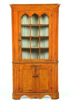 Grain Painted Corner Cupboard.  American, 1820-1840, pine. Two piece, 84 H. x 44 W. x 21 D.