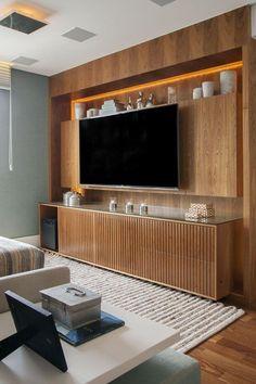 Design Wood, Tv Wall Design, Living Room Modern, Living Room Interior, Living Room Decor, Modern Tv Wall Units, Craftsman Interior, Living Room Tv Unit Designs, Muebles Living