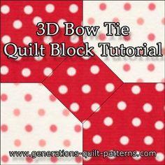 3D Bow Tie Quilt Block - Multi-Size Instructions