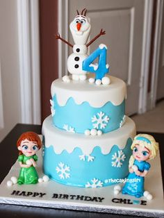 frozen childhood anna elsa birthday cake
