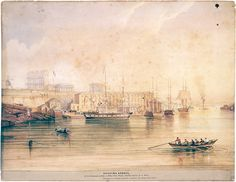 Shipping Horses for the Government of India at Millers Point Wharf - Darling Harbour N. Wales, ca. by Frederick Garling First Fleet, Penal Colony, Botany Bay, Darling Harbour, Aboriginal People, Old Photos, Sydney, Australia, India