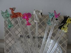 Vintage glass animal figural stirrers by BarnshopAntiques on Etsy, $40.00