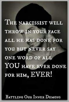 Or what they've done & allowed to be done to you. bc apparently in their twisted minds stuff you did wrong 10 years ago is an excuse for them to completely loose their shit now. Narcissistic People, Narcissistic Mother, Narcissistic Behavior, Narcissistic Abuse Recovery, Narcissistic Personality Disorder, Narcissistic Sociopath, Abusive Relationship, Toxic Relationships, Relationship Quotes