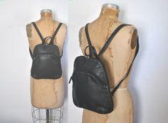 Black leather Backpack Bookbag by badbabyvintage on Etsy