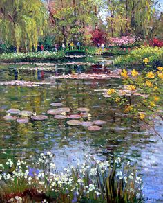 Impressionism Painting - Monets Lily Pond Giverny by Roelof Rossouw Landscape Art, Landscape Paintings, Arte Van Gogh, Pond Painting, Water Lilies Painting, Garden Painting, Monet Paintings, Paul Cezanne Paintings, Abstract Paintings