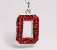 Sterling Silver & Swarovski Crystal Pendant with Chain (All Red)