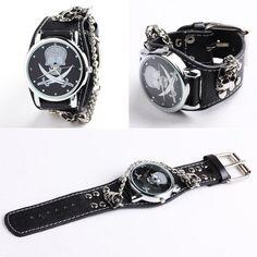 Yesurprise Punk Rock Skull Skeleton Leather Band Women Men Unisex Chain Bracelet Cool Wrist Watch: Watches: Amazon.com