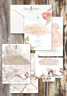 Beautiful watercolor stationery suite with gold detail | Wedding Invitation Etiquette for the Modern Couple