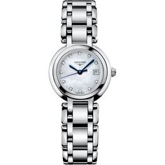 Longines Women's PrimaLuna Diamond Accent (1/3 ct. t.w.) Stainless... ($1,375) ❤ liked on Polyvore featuring jewelry, watches, no color, stainless steel jewellery, stainless steel bracelet watch, blue steel jewelry, polish jewelry and bracelet watch