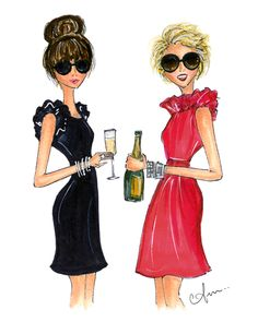Illustration by Anum of @Melissa Squires Spivak. Lilien's New Years blog post. #CamilynBeth Gabrielle Dress + Go Go Dress