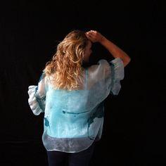 Silk organza top Short volume sleeves Chic by SwellEcoFashion Silk Organza, Silk Fabric, Green Turquoise, Silk Dress, Denim, Chic, Elegant, Trending Outfits, Felting
