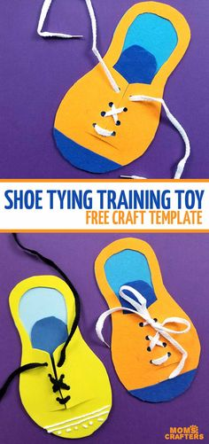 Teach kids how to tie their shoes with a shoe tying practice toy template - a free printable DIY felt no sew toy for moms to make for preschoolers and kids!