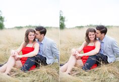 Wheat field red dress engagements   © Matt Ramos Photography