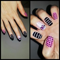 Pink&black nails