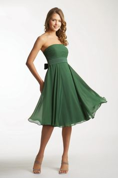 Empire Waist Strapless A Line New Arrival Green