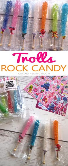 Trolls Rock Candy. These customized Trolls party favors are SO EASY to make! What a great idea for a Trolls birthday party!