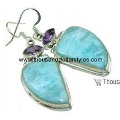 Alexandra 925 Sterling Silver handmade Larimar Thousand Dollar Style Earrings