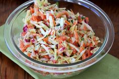 "Spicy Southwest Slaw -""The addition of red pepper, cilantro, and jalapeno give it a southwest flair and a bit of heat. Mayonnaise, Spicy Coleslaw, Coleslaw Recipes, Cooking Recipes, Healthy Recipes, Easy Recipes, Cabbage Salad, Food Dishes, Side Dishes"