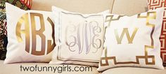 "Our metallic monogrammed 14""x14"" throw pillow cover does just the trick! Add instant glam to any decor. Personalize with either a gold or silver monogram and border. Pillow cover is made of durable, natural white poly duck canvas with slot opening in back. Monogram is not embroidered. Metallic foil monograms are imprinted directly onto the fabric."